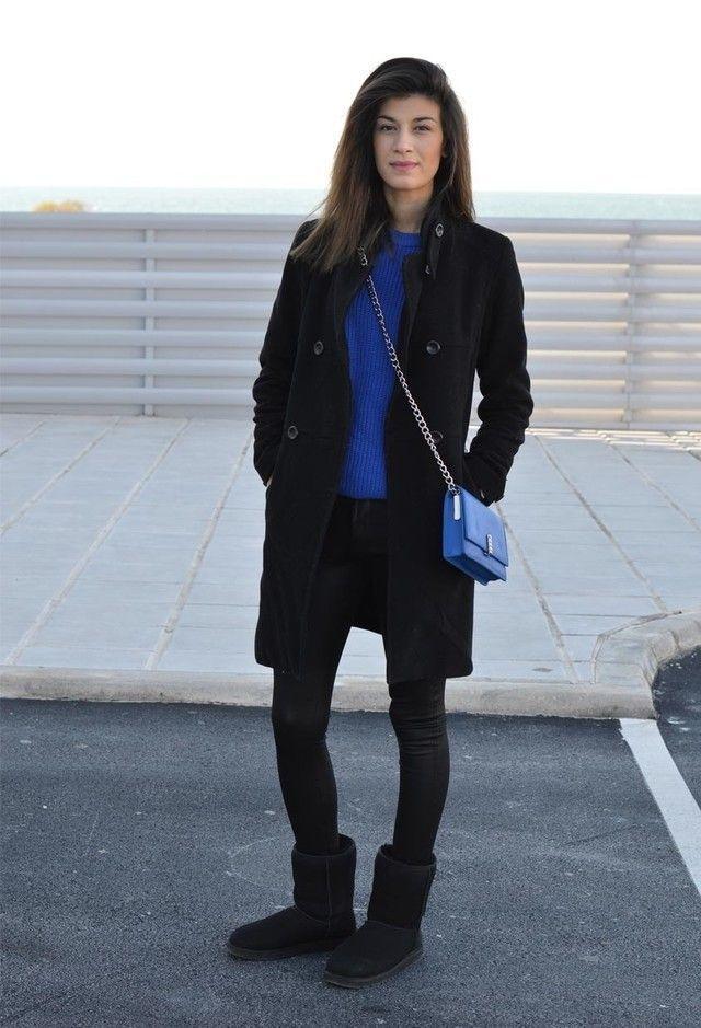 women 39 s black coat blue crew neck sweater black skinny. Black Bedroom Furniture Sets. Home Design Ideas