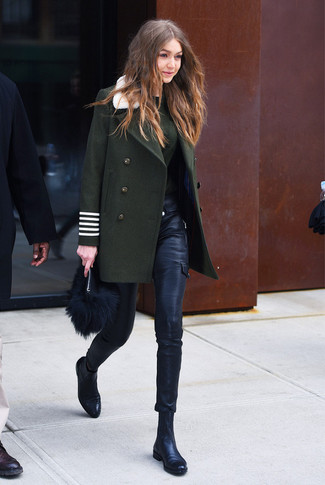 How to wear: dark green coat, dark green crew-neck sweater, black leather skinny pants, black leather chelsea boots