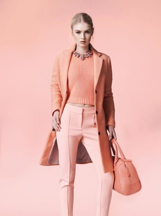 How to wear: pink coat, pink crew-neck sweater, pink skinny pants, pink leather tote bag
