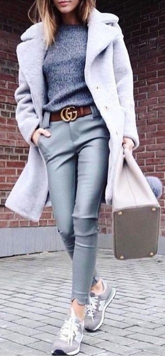 How to wear: grey coat, grey crew-neck sweater, grey leather skinny pants, grey suede low top sneakers