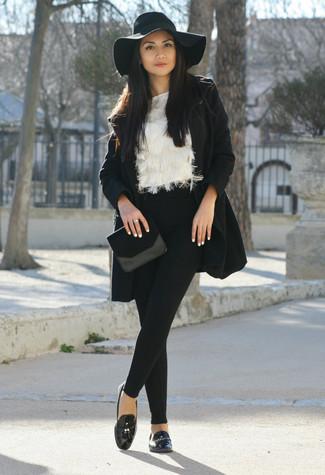 Women's Black Coat, White Fluffy Crew-neck Sweater, Black Wool Skinny Pants, Black Leather Tassel Loafers
