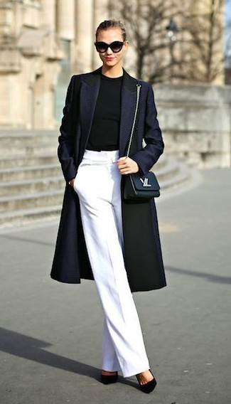 How to wear: navy coat, black crew-neck sweater, white wide leg pants, black suede pumps