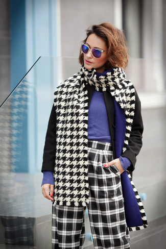 How to wear: black coat, violet crew-neck sweater, black and white check wide leg pants, white and black houndstooth scarf