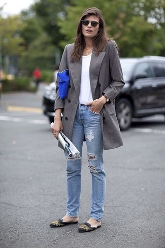 Women's Grey Coat, White Crew-neck T-shirt, Light Blue Ripped Jeans, Black Print Leather Ballerina Shoes