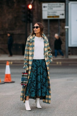 How to wear: yellow plaid coat, white crew-neck t-shirt, teal floral midi skirt, white leather ankle boots