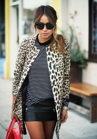 Women's Beige Leopard Coat, Black and White Horizontal Striped Crew-neck T-shirt, Black Leather Mini Skirt, Red Leather Tote Bag