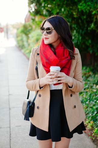 How to wear: beige coat, white crew-neck t-shirt, black skater skirt, black leather crossbody bag