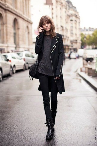How to wear: black coat, charcoal crew-neck t-shirt, black skinny jeans, black leather lace-up flat boots