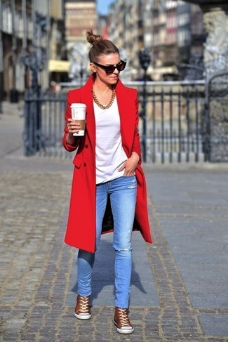 How to wear: red coat, white crew-neck t-shirt, light blue ripped skinny jeans, brown high top sneakers