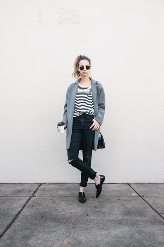 A grey coat and black ripped skinny jeans is a smart combination to carry you throughout the day. This outfit is complemented perfectly with black leather loafers.