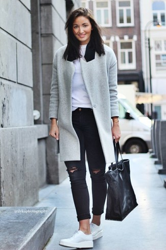 Try pairing a grey coat with black distressed slim jeans to showcase you've got White Leather Derby Shoes ...