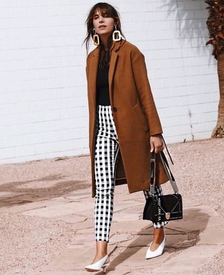 How to wear: tobacco coat, black crew-neck t-shirt, black and white gingham skinny pants, white leather pumps
