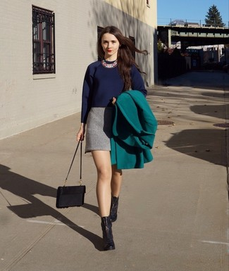 Wear a green coat and a Prada women's Persian Lamb Crossbody for a stylish office ensemble. Black leather ankle boots look awesome here. You can bet this ensemble is great when colder weather hits.