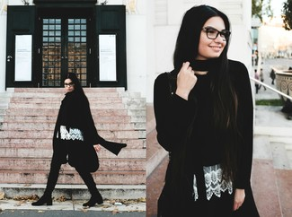 Women's Black Coat, Black Cropped Sweater, White Lace Sleeveless Top, Dark Green Skinny Pants
