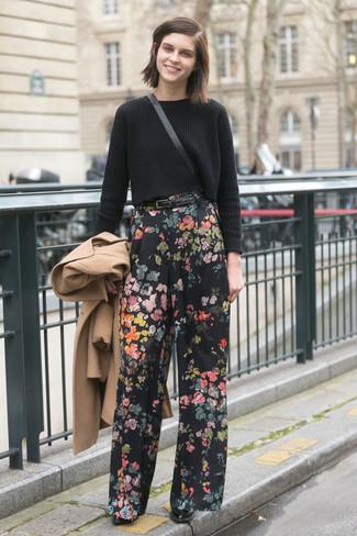 Women's Camel Coat, Black Knit Cropped Sweater, Black Floral Wide Leg Pants, Black Leather Ankle Boots