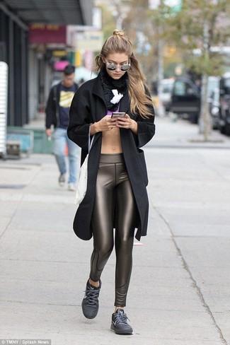 How to wear: black coat, purple cropped top, dark brown leggings, charcoal low top sneakers
