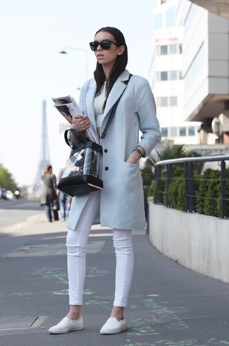How to wear: light blue coat, white cropped top, white skinny jeans, white slip-on sneakers