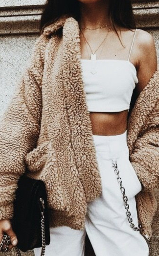 How to wear: camel fleece coat, white cropped top, white sweatpants, black suede crossbody bag