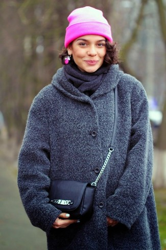 How to wear: charcoal coat, black leather crossbody bag, hot pink beanie, charcoal scarf