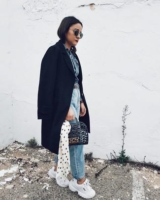 How to wear: black coat, blue denim jacket, light blue boyfriend jeans, white athletic shoes