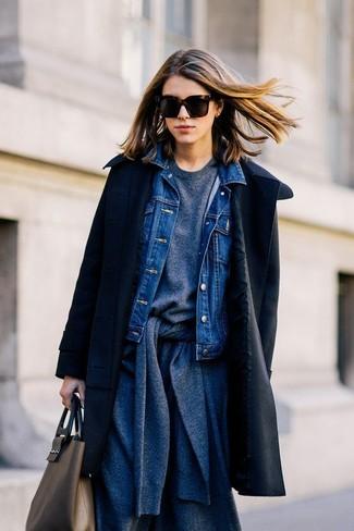 How to wear: black coat, blue denim jacket, charcoal cardigan, charcoal sweatshirt