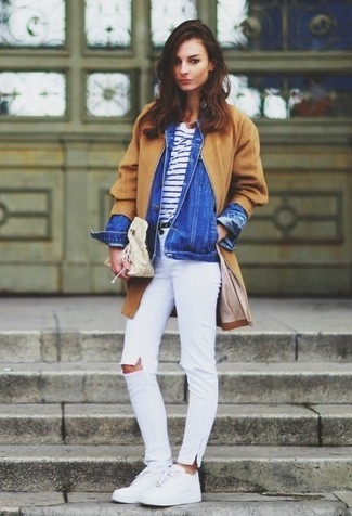 How to wear: camel coat, blue denim jacket, white and navy horizontal striped crew-neck t-shirt, white ripped skinny jeans