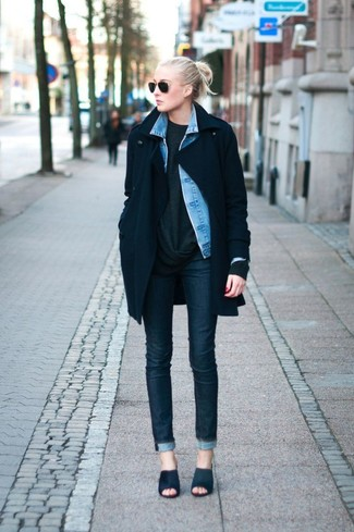 Women's Navy Coat, Light Blue Denim Jacket, Charcoal Oversized ...