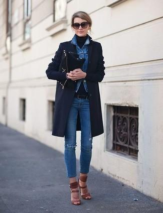 How to wear: navy coat, blue denim jacket, black turtleneck, blue ripped skinny jeans
