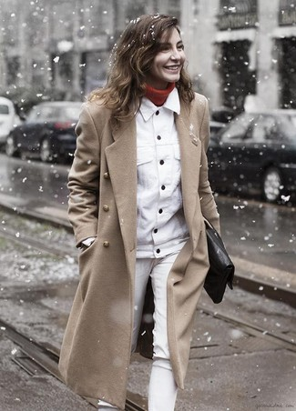 How to wear: camel coat, white denim jacket, red turtleneck, white jeans
