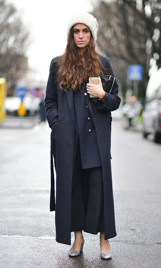 How to wear: black coat, navy double breasted blazer, black flare pants, silver sequin pumps