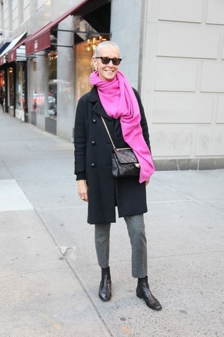 Black Leather Crossbody Bag Outfits After 60: For a foolproof casual option, you can never go wrong with this combo of a black coat and a black leather crossbody bag. We adore how a pair of black leather chelsea boots makes this look whole.