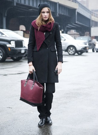 How to wear: black coat, black dress pants, black leather chelsea boots, burgundy leather tote bag