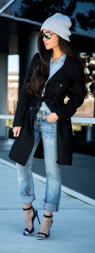 How to wear: black coat, light blue chambray dress shirt, light blue boyfriend jeans, black leather heeled sandals