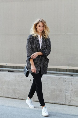 How to wear: charcoal coat, white dress shirt, black chinos, white leather low top sneakers