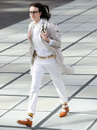 How to wear: grey linen coat, white dress shirt, white chinos, tan leather brogues