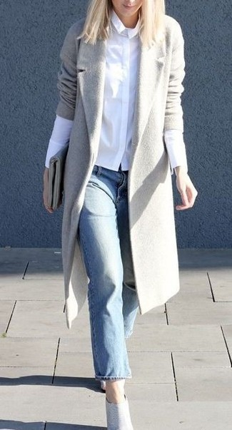 How to wear: grey coat, white dress shirt, light blue jeans, grey leather ankle boots