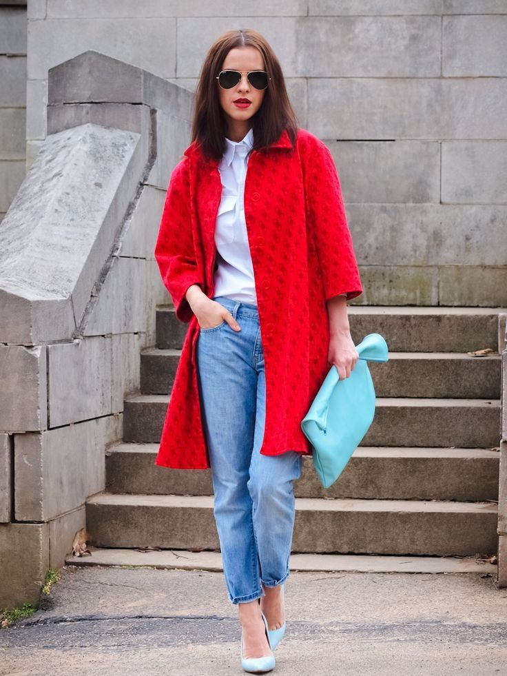 How To Wear a Red Coat With a White Dress Shirt | Women's Fashion