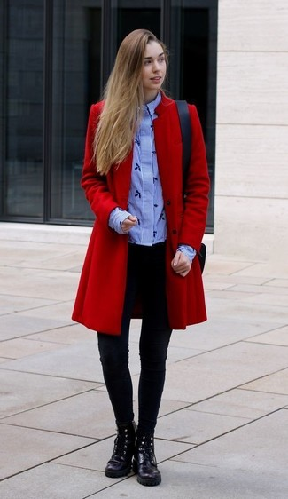 How to wear: red coat, light blue vertical striped dress shirt, black leggings, black leather lace-up flat boots