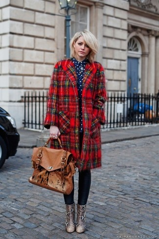 Women's Red Plaid Coat, Navy and White Polka Dot Dress Shirt, Black Leather Leggings, Tan Snake Leather Ankle Boots