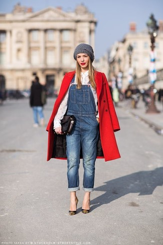 To create an outfit for lunch with friends at the weekend opt for a red coat and blue denim overalls. Why not introduce black and gold leather pumps to the mix for an added touch of style?