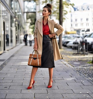 Red Suede Pumps Outfits: A camel coat and a black leather pencil skirt worn together are an ultra covetable ensemble for girls who prefer classic and chic combos. Complement this look with a pair of red suede pumps and the whole ensemble will come together.