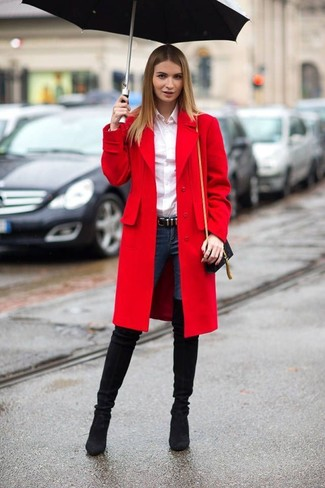 How to wear: red coat, white dress shirt, navy skinny jeans, black suede over the knee boots