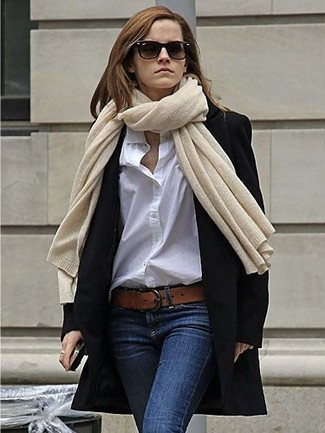 How to wear: black coat, white dress shirt, navy skinny jeans, brown leather belt
