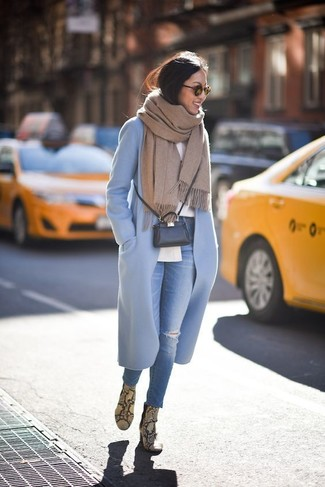 How to wear: light blue coat, white dress shirt, blue ripped skinny jeans, yellow snake leather ankle boots