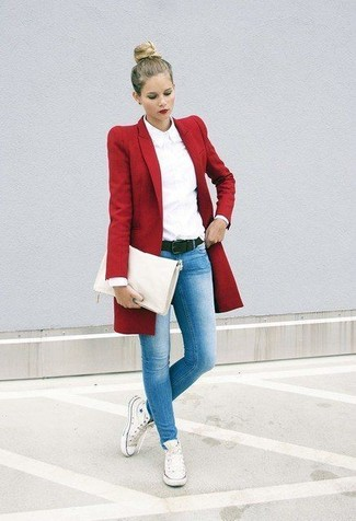 How to wear: red coat, white dress shirt, light blue skinny jeans, white canvas high top sneakers