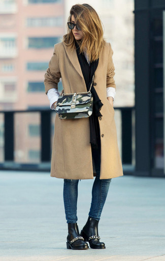 How to wear: camel coat, white dress shirt, navy skinny jeans, black leather chelsea boots