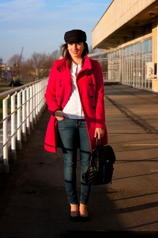 Try pairing a red coat with a backpack for a work-approved look. Complement this outfit with black suede pumps. You can bet this look is great come spring.