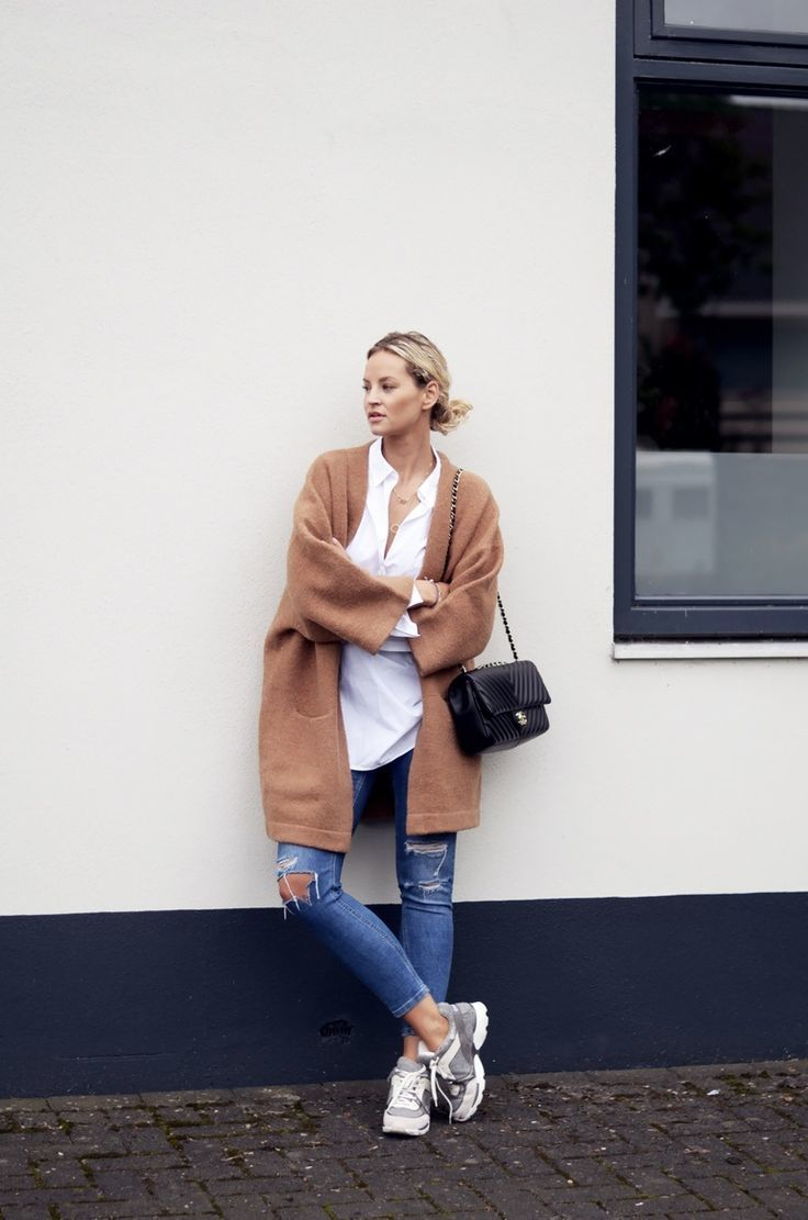 Women S Brown Coat White Dress Shirt Blue Ripped Skinny Jeans Grey Athletic Shoes Fashion