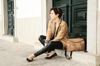 How to wear: camel coat, white and navy gingham dress shirt, black leather skinny pants, black leather ballerina shoes
