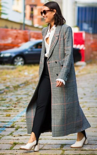 How to wear: grey plaid coat, white dress shirt, black skinny pants, white leather pumps